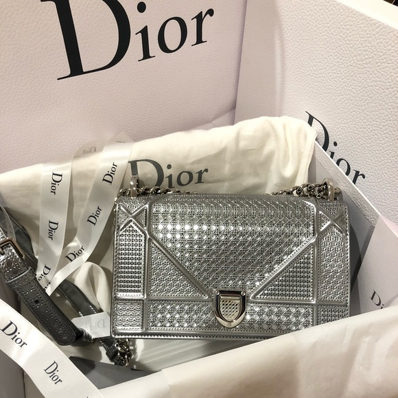 2fd29c6099 Dior Bags | Ama Silver Metallic Calfskin | Poshmark
